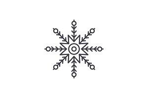 Creative snowflake line icon concept