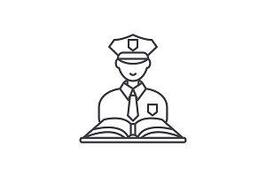 Criminal law line icon concept
