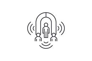 Customer marketing line icon concept