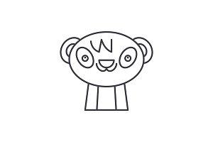Cute panda line icon concept. Cute