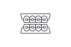 Dantist braces line icon concept