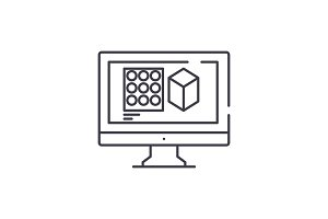 Design designing line icon concept