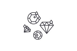 Diamonds line icon concept. Diamonds