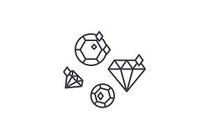 Diamonds line icon concept. Diamonds