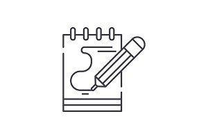 Diary notes line icon concept. Diary