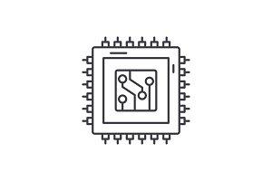 Digital production line icon concept