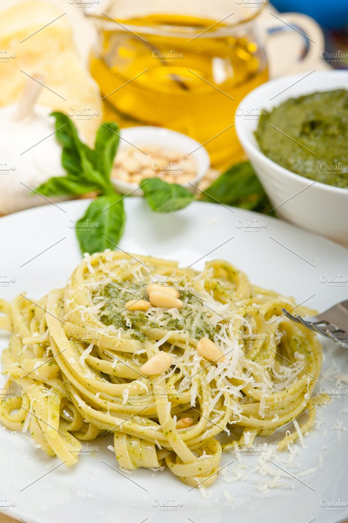 Italian classic trenette pasta and basil pesto sauce 037.jpg - Food & Drink