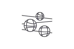 Disco balls line icon concept. Disco