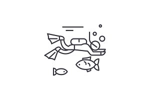 Diving line icon concept. Diving