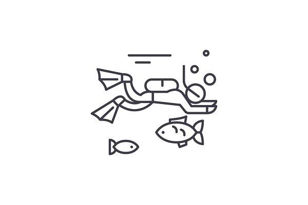 Diving line icon concept. Diving