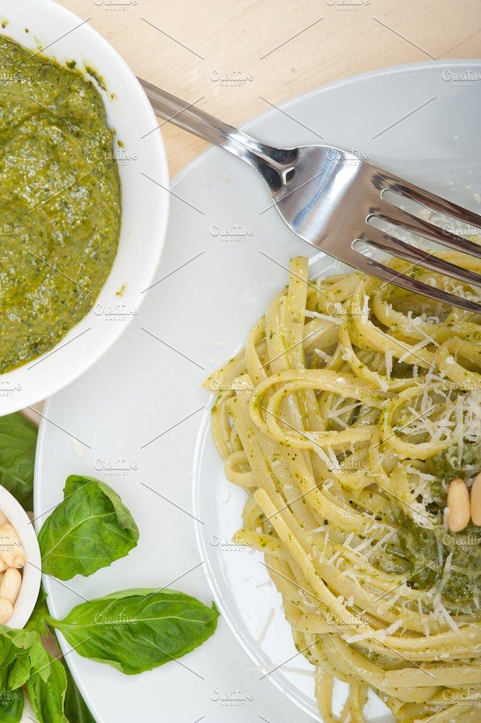 Italian classic trenette pasta and basil pesto sauce 040.jpg - Food & Drink