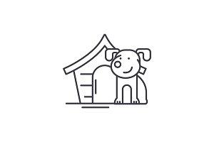 Domestic dog line icon concept
