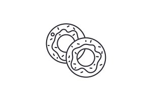 Donuts line icon concept. Donuts