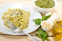 Italian classic trenette pasta and basil pesto sauce 044.jpg