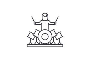 Drummer line icon concept. Drummer