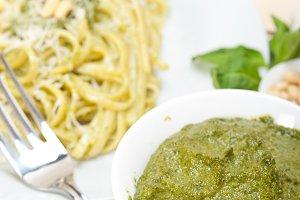 Italian classic trenette pasta and basil pesto sauce 043.jpg