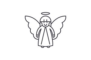 Easter angel line icon concept