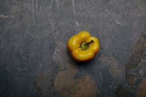 top view of yellow bell pepper on gr