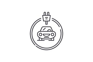 Electrics cars line icon concept
