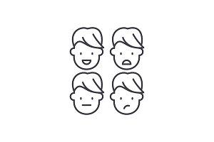 Emotional intelligence line icon