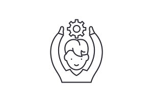 Employee potential line icon concept