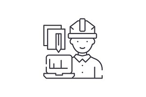 Engineer and computer line icon