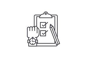 Exams line icon concept. Exams