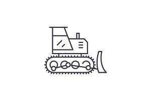 Excavator line icon concept
