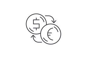 Exchange of dollars for euros line