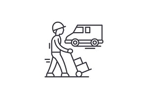 Express logistics line icon concept