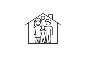 Family house line icon concept