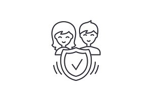 Family insurance line icon concept