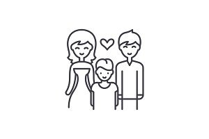Family with child line icon concept