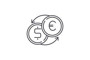 Fast currency exchange line icon