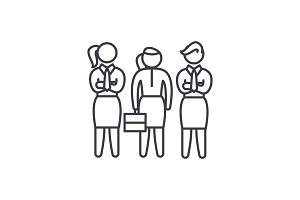Female employees line icon concept