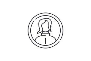Female profile line icon concept