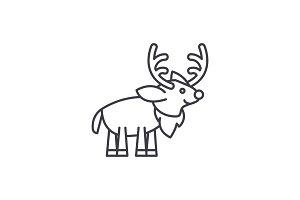 Festive deer line icon concept