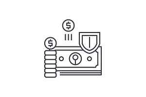 Finance protection line icon concept