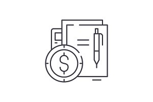 Financial contract line icon concept