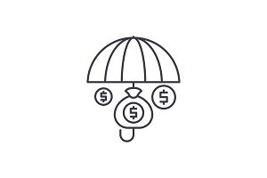 Financial insurance line icon