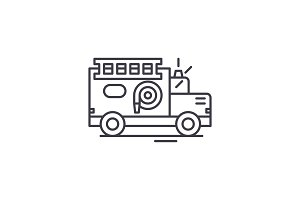 Fire engine line icon concept. Fire