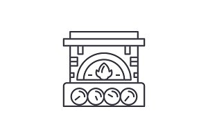 Fireplace brick line icon concept