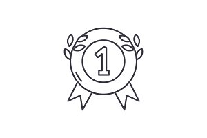First place medal line icon concept