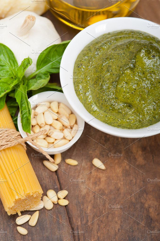 Italian organic basil pesto sauce ingredients 032.jpg - Food & Drink