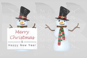 Snowmen holding a Greetings placard.