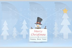 Snowman holding a Greetings placard