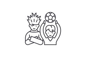 Football fans line icon concept