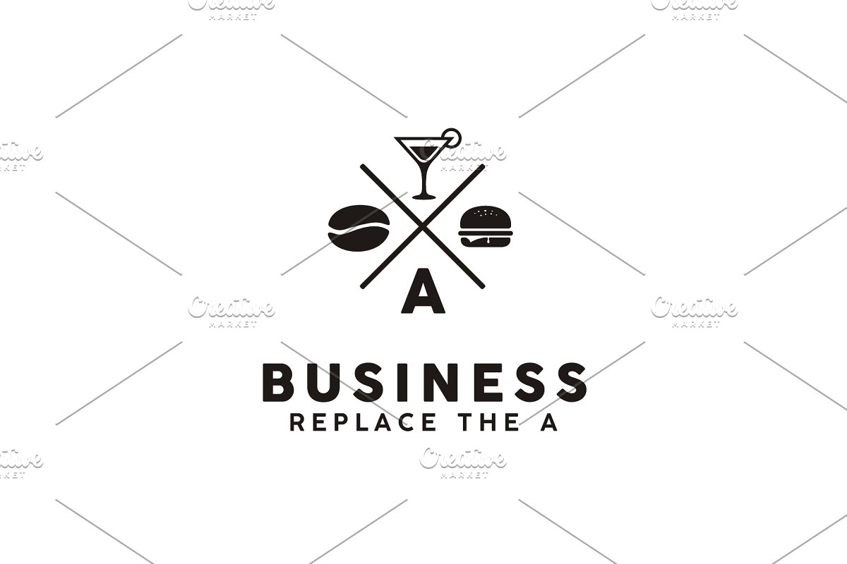 Hipster Retro Burger Restaurant Logo