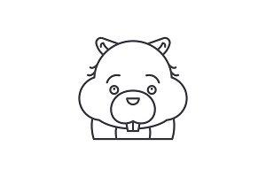 Funny beaver line icon concept