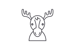 Funny deer line icon concept. Funny